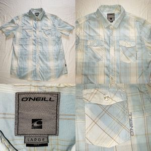 Mens O'Neill Vertical plaid Striped surfing Button